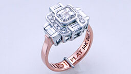 Custum engagement ring with white and rose gold