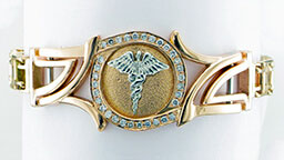 Custom MedicAlert bracelet in gold and diamond